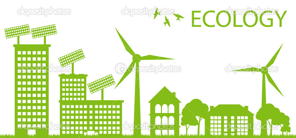 Ecology city and elements background vector concept- solar and wind alterna