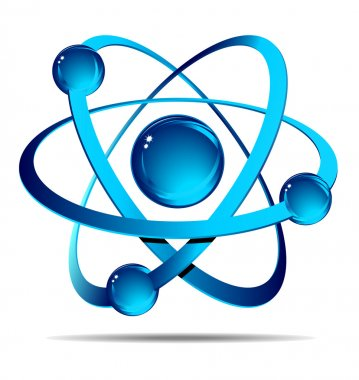 Atom on white background