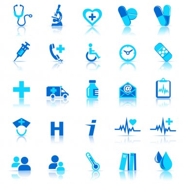 25 Health care Icons covering General Practice. All elements are grouped and on individual layers in the vector file for easy use. stock vector