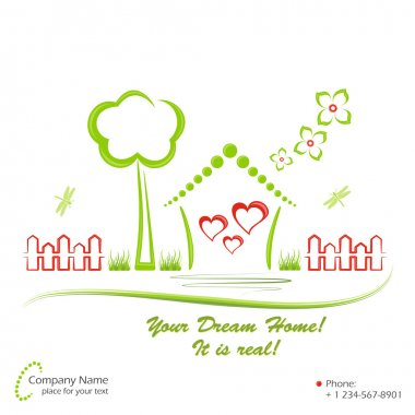 Cute dream home and elements of nature. Vector illustration. stock vector