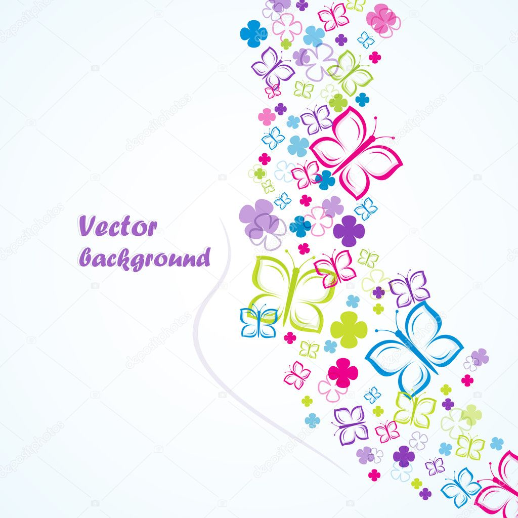 Flowers and butterflies (background), vector illustration