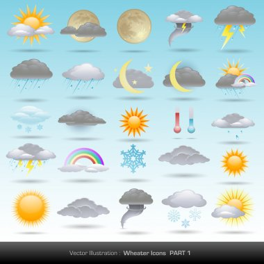 Vector weather icons collection clip art vector