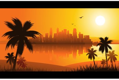 City at sunset tropical background