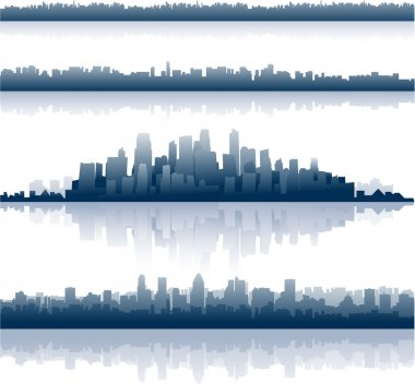 City silhouette skylines background clip art vector