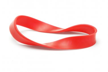 Twisted red rubber wrist band