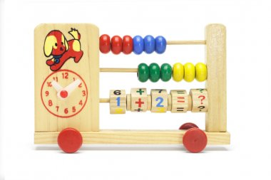 Toy abacus and clock on wheels
