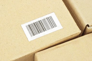 Bar code label on carton box