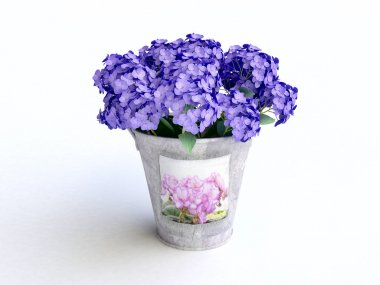Bucket With Blue Hydrangeas