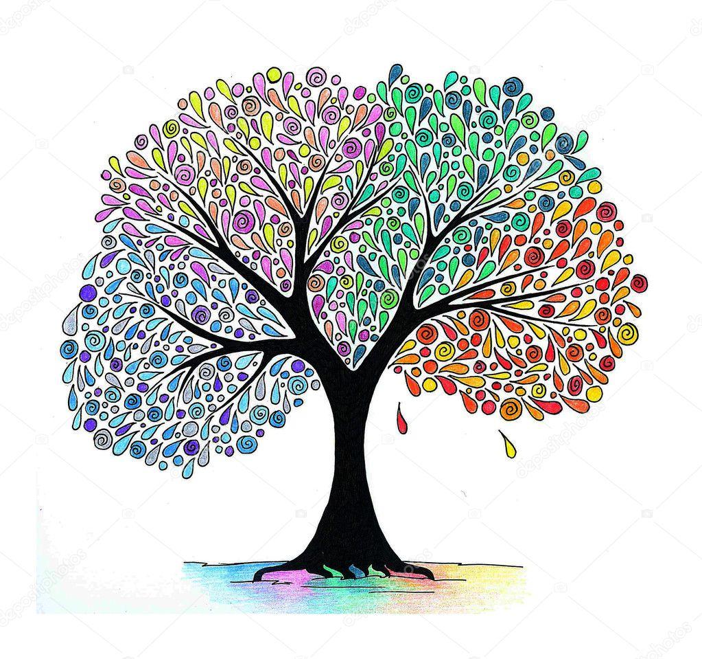 Illustration of a four seasons tree