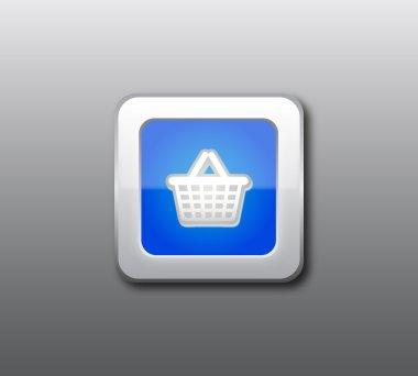Blue basket button vector