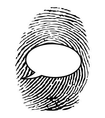 Fingerprint with chat bubble