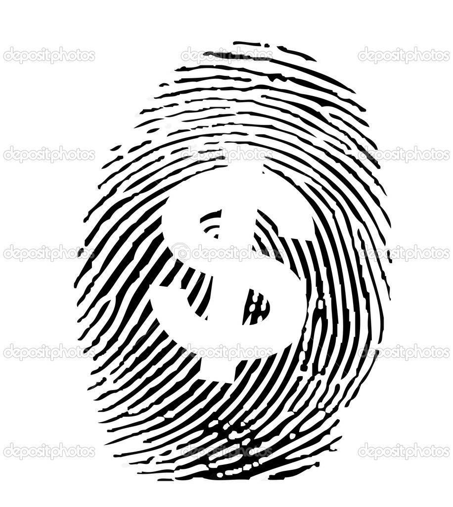 Vector of a finger print with dollar sign