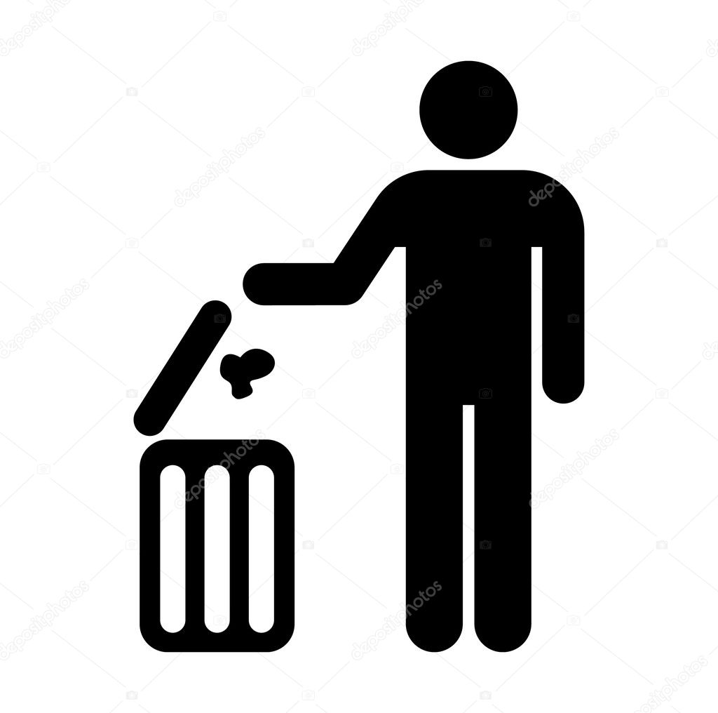 Figure Of Person Throwing Garbage Into A Trash Can Stock Vector