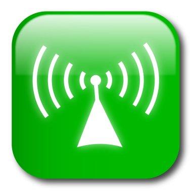 Green wireless button vector