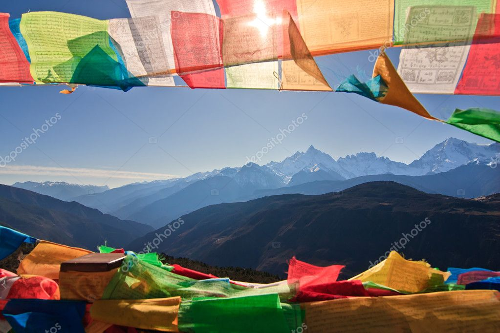 Prayer Flag and Distant mountain