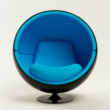 Modern blue black cocoon ball chair isolated on white background