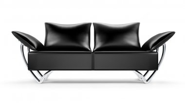 Glamour black leather sofa isolated on white background