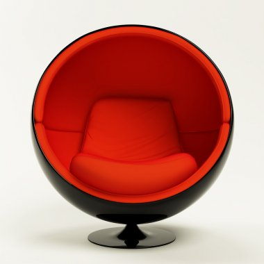 Modern red black cocoon ball chair isolated on white background