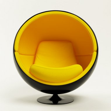 Modern yellow black cocoon ball chair isolated on white background