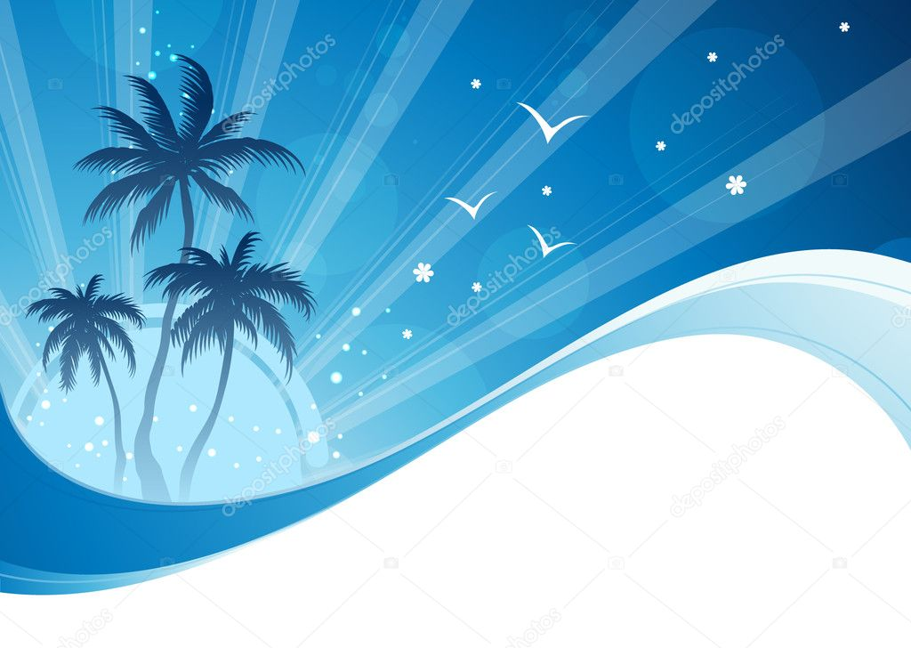 Summer time background with palms