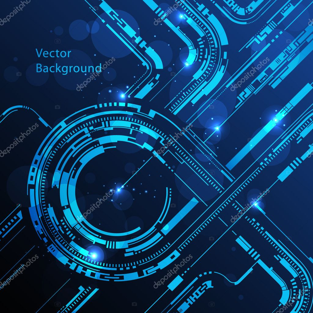 Abstract technology circles lines vector background