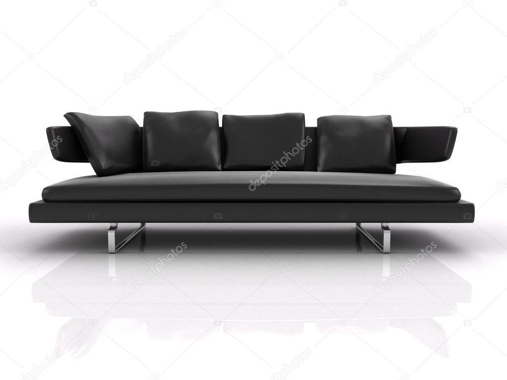divano in pelle nera, isolato su sfondo bianco — Foto Stock © cozm ...