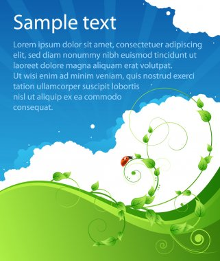 Ecology summer pattern poster background with leafs, clouds and ladybird