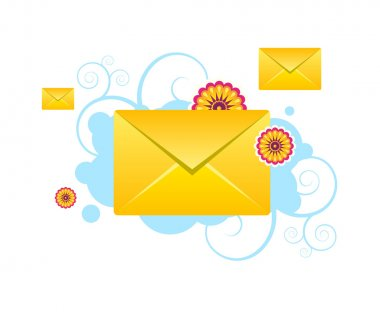 Envelopes, e-mail sms vector icons with flowers and patterns
