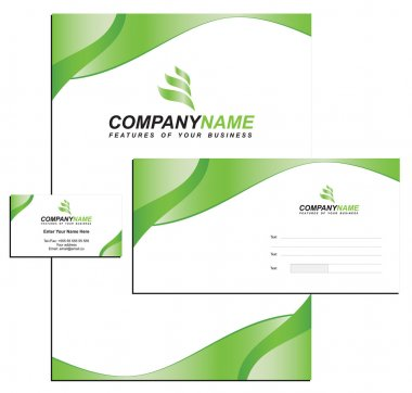 Template vector Identity with logo, blank, envelope and visiting card