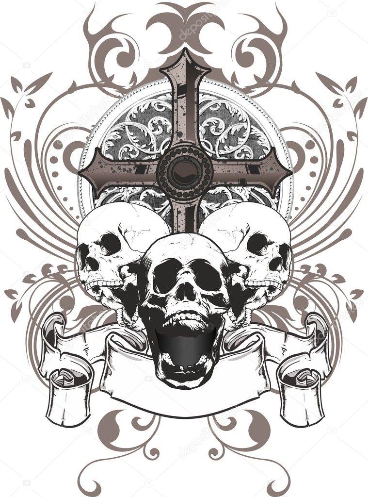 Skull Cross Stock Vector 169 Samandale 6130875