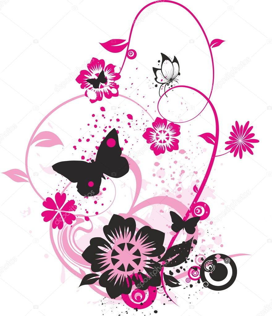 flowers and butterflies u2014 stock vector samandale 6185835