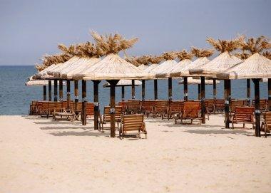 Deserted beach. Sun beds on a white beach. Bulgaria. Gold sand stock vector