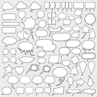 Huge cartoon speech bubble set