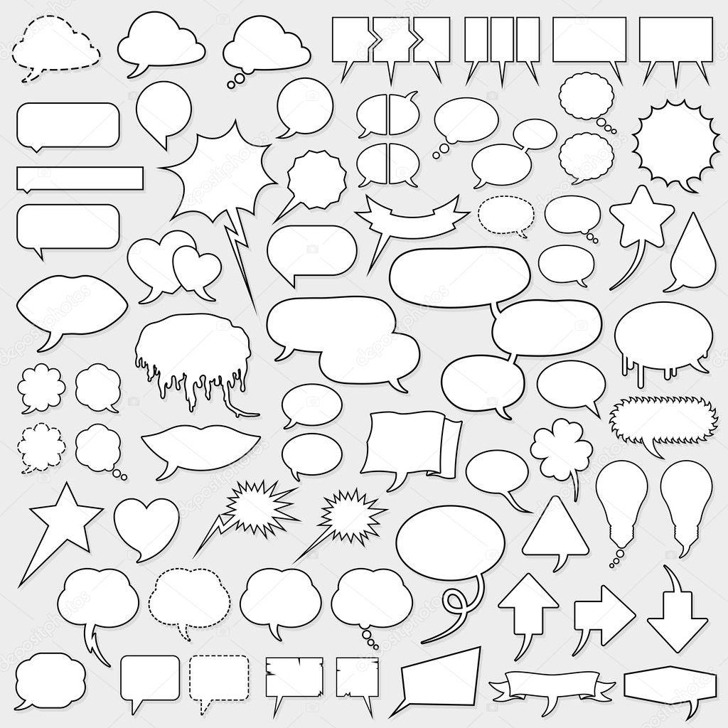 Huge cartoon speech bubble set
