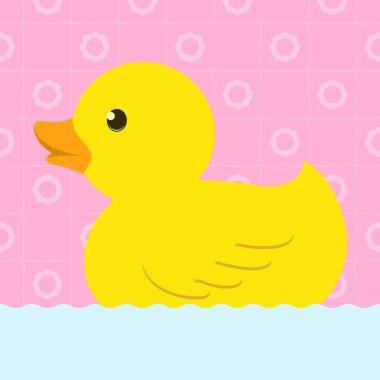 Rubber duck with bath background
