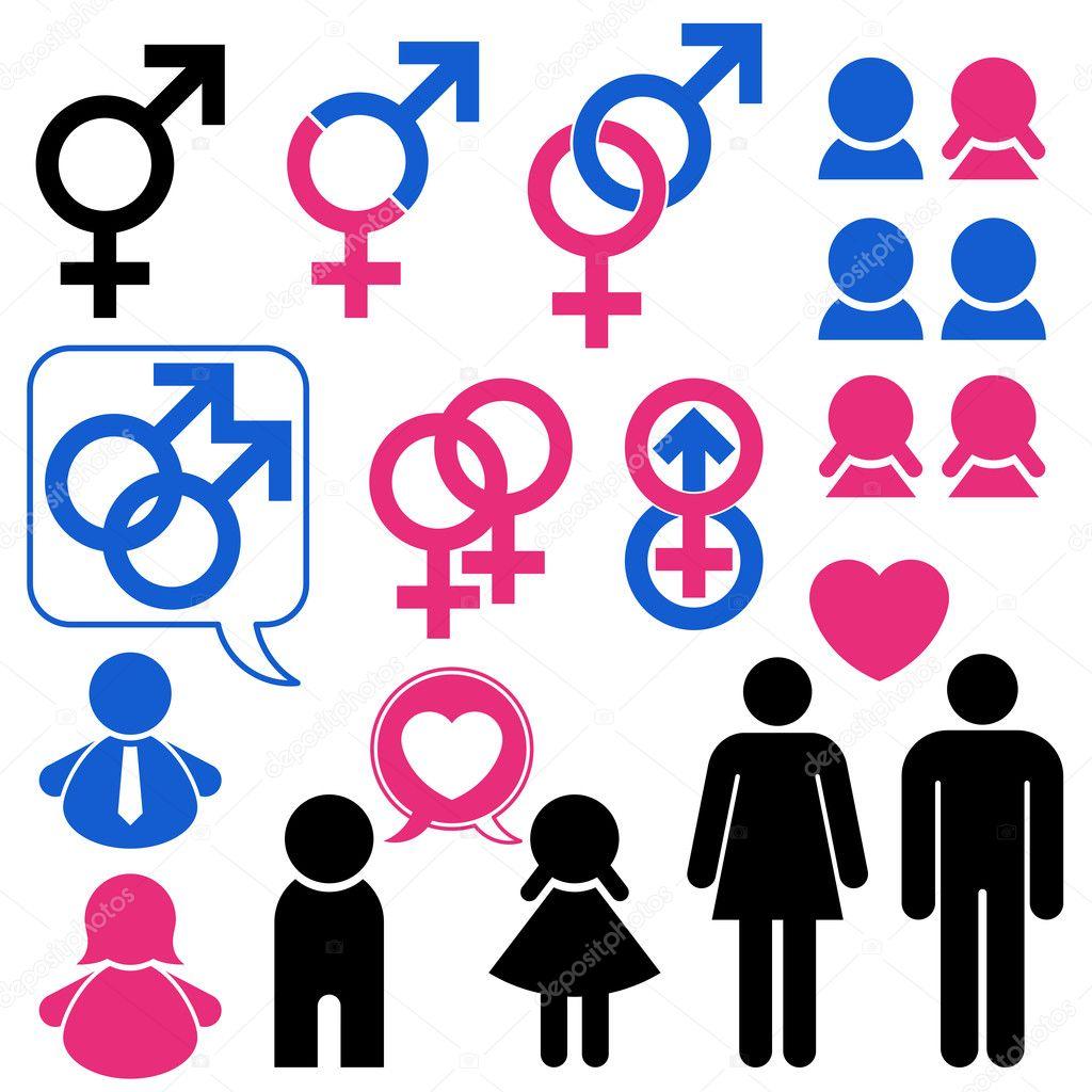 homem e mulher símbolo definir o relacionamento — Vetores de Stock ... 876cb3f247e