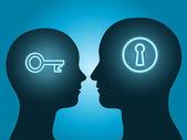 Muž a žena hlavu silueta s klíčem a zámek symbol komunikaci