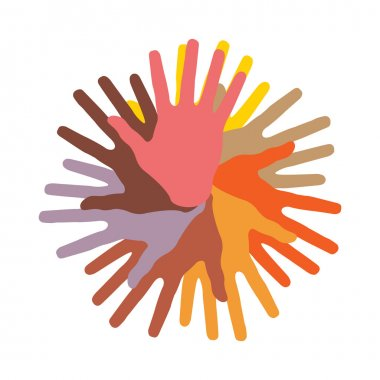 Colorful round of hands, vector