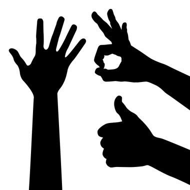 Set of hands, sign ok, vector