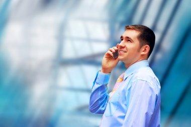Businessman on architecture background