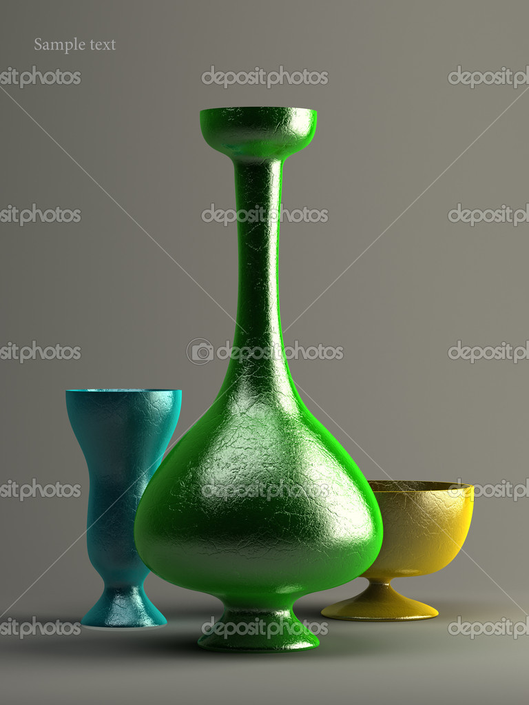 Three Vases 3d Illustration Over Grey Backgrounds Stock Photo