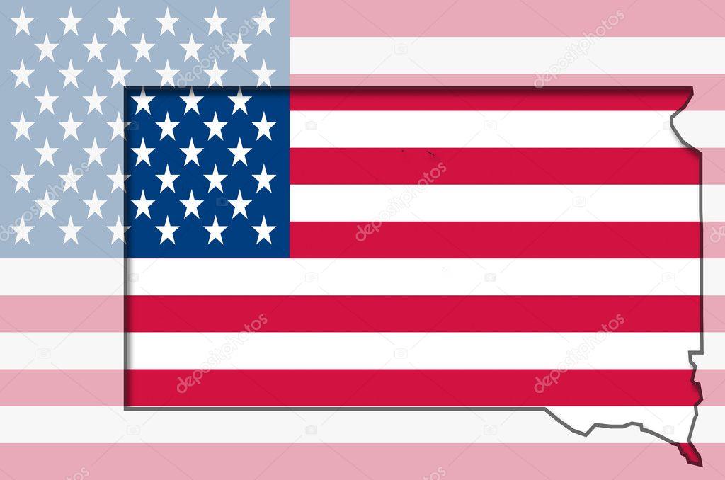 Outline map of south Dakota on american flag Stock Photo