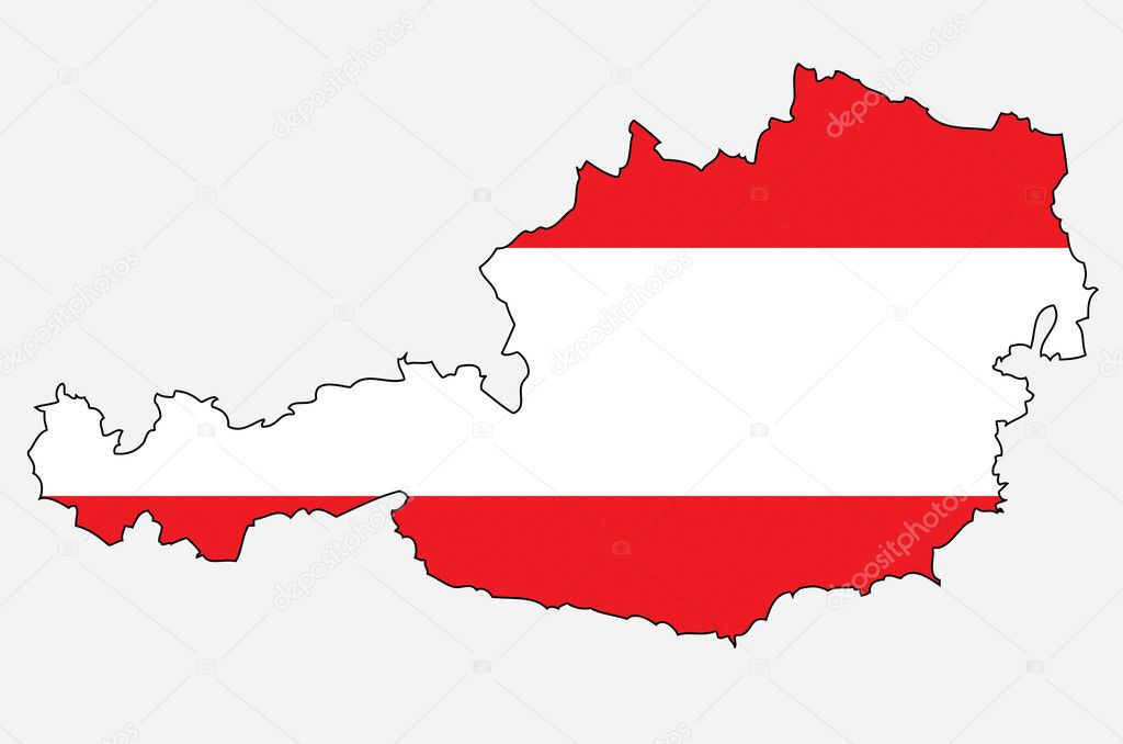 Der Umriß von Österreich mit österreichischer Flagge — Stockfoto ...