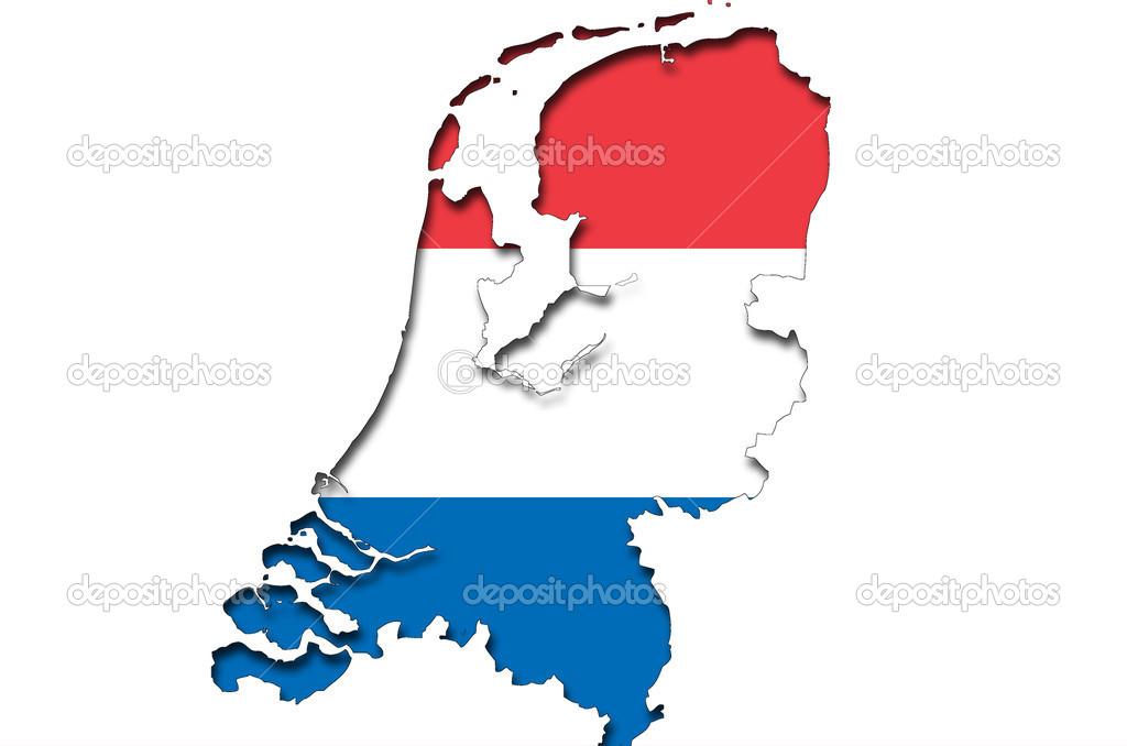 Outline map of Netherlands with dutch flag Stock Photo vepar5