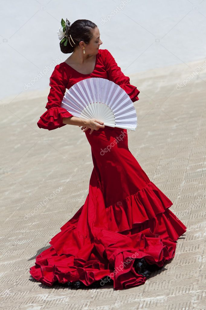 Traditional woman spanish flamenco dancer in red dress for Traditional photos