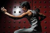 Fényképek ázsiai kínai ember a különböző harcművészeti harcok jelent