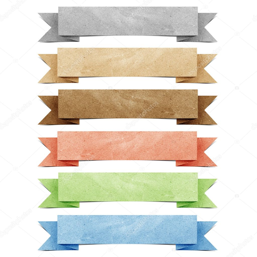 Header origami tag recycled paper craft stick on white background