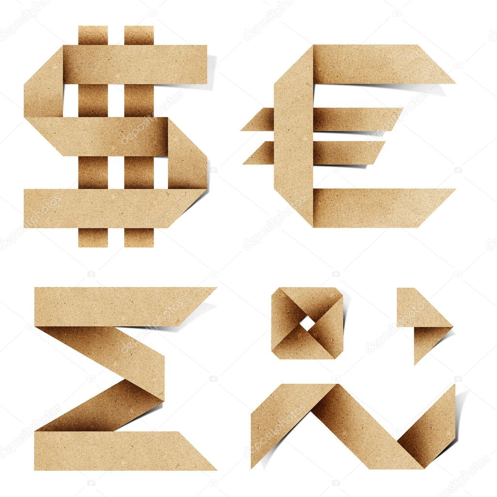 Origami alphabet letters recycled paper craft stick on for Alphabet letters cardboard