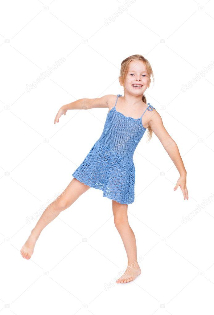 hübsches kleines Mädchen im blauen Kleid — Stockfoto © Gladkov #6431340