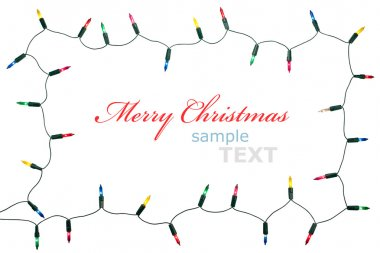 Christmas lights frame isolated on white background with copy sp